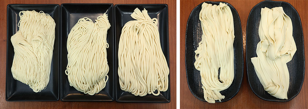 You can select a noodle of your choice from thin, flat or triangle